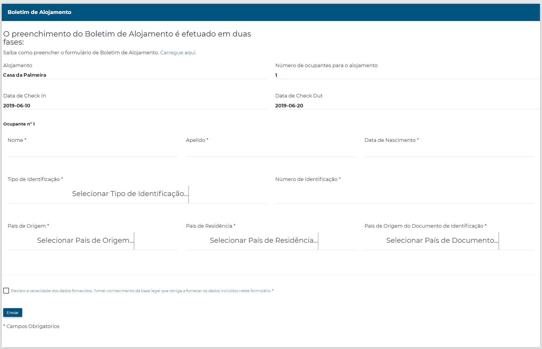 Boletim de Alojamento - tutorial 2 fase