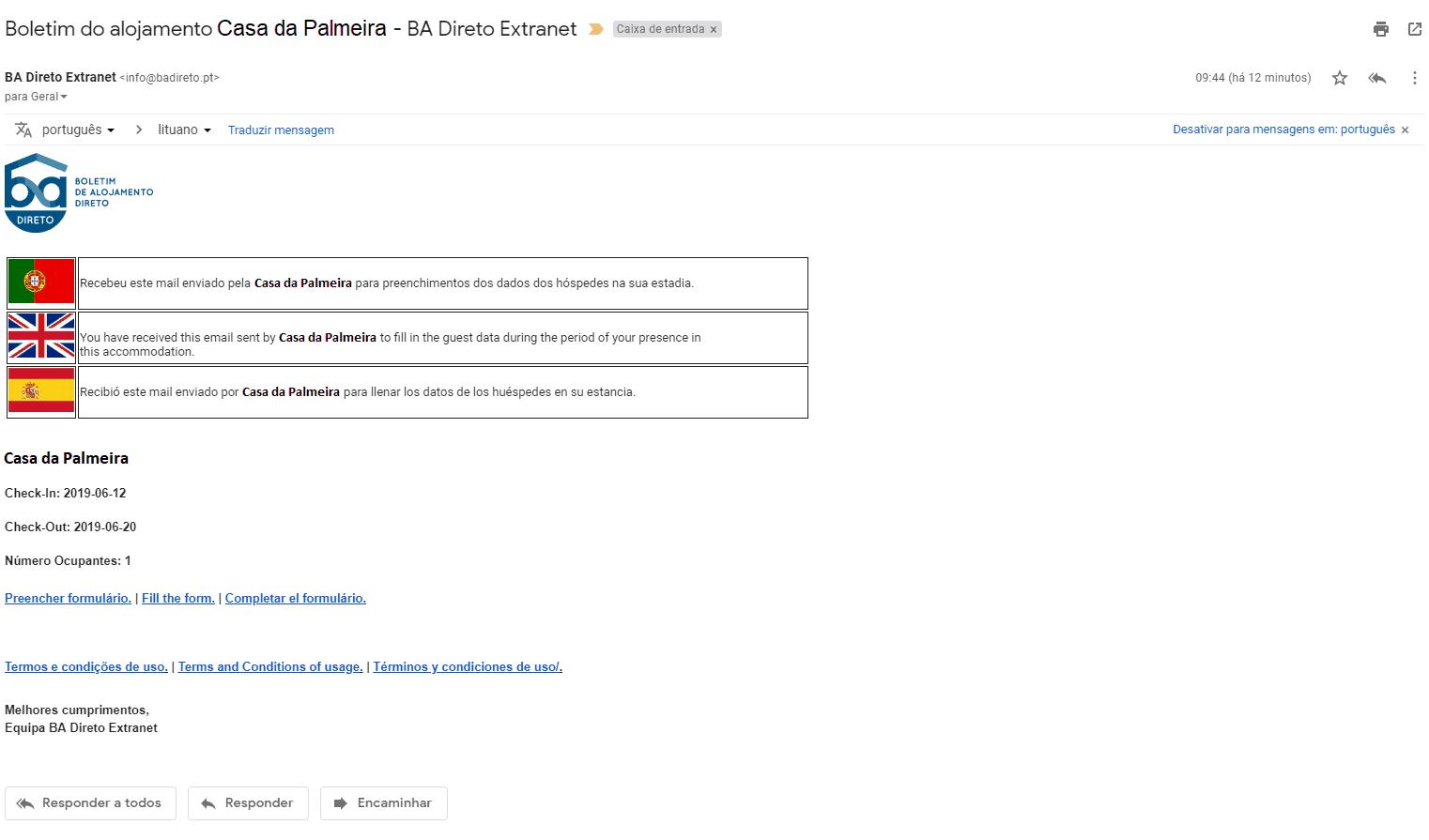 enviar BA por email - O email